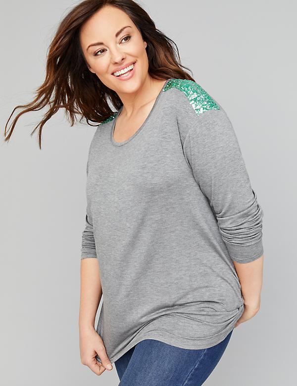 Sequin Shoulder Tee