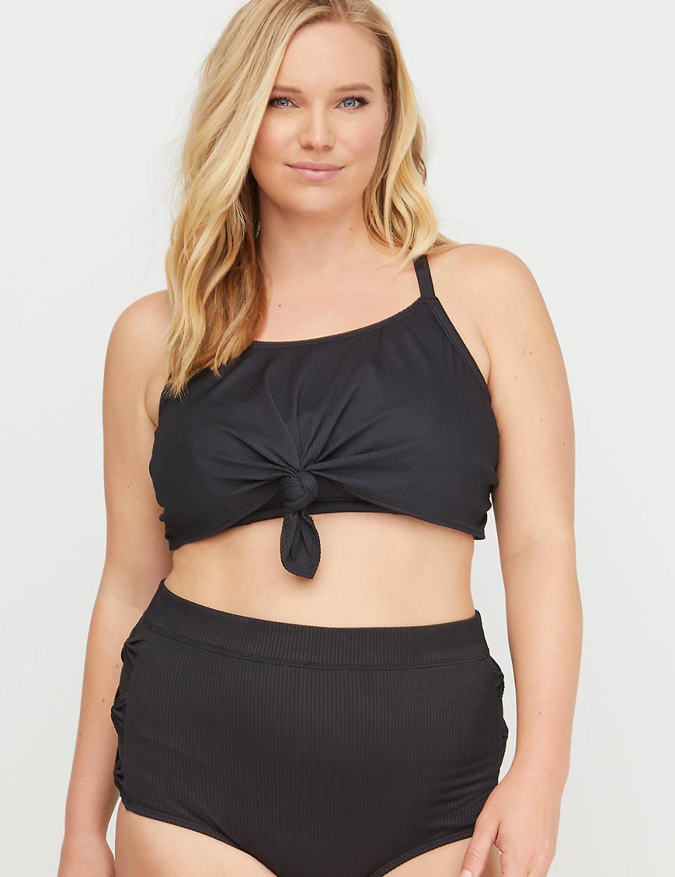 2255d83aaa9aac Ribbed Knot- Longline Swim Bikini Top with No-Wire Bra