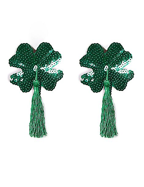 Shamrock Sequin Pasties with Tassels