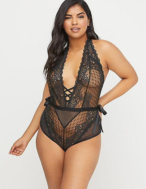 Lace High-Leg No-Wire Bodysuit - Satin Ribbon Ties