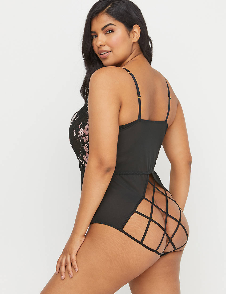 b470bb7d217 No-Wire Strappy-Back Bodysuit - Mesh   Cross-Dyed Lace