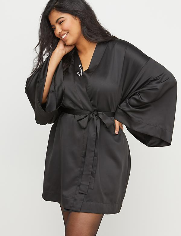 Queen Embroidered Satin Robe
