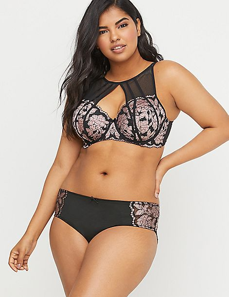 Strappy-Back Hipster Panty - Cross-Dyed Lace