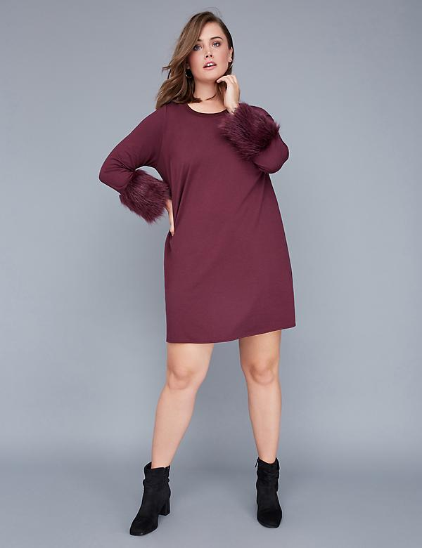 Fast Lane Swing Dress with Faux Fur Cuffs