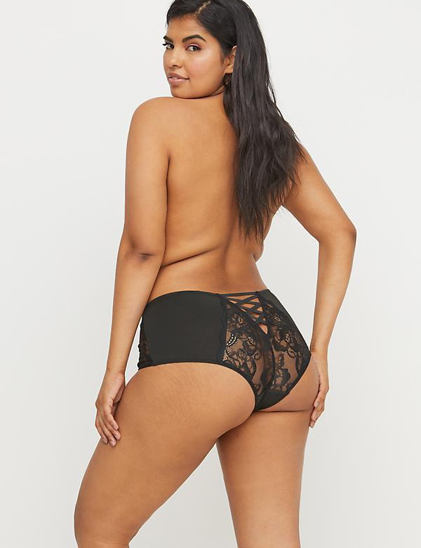 Mid-Waist Cheeky Panty - Lace & Strappy Back