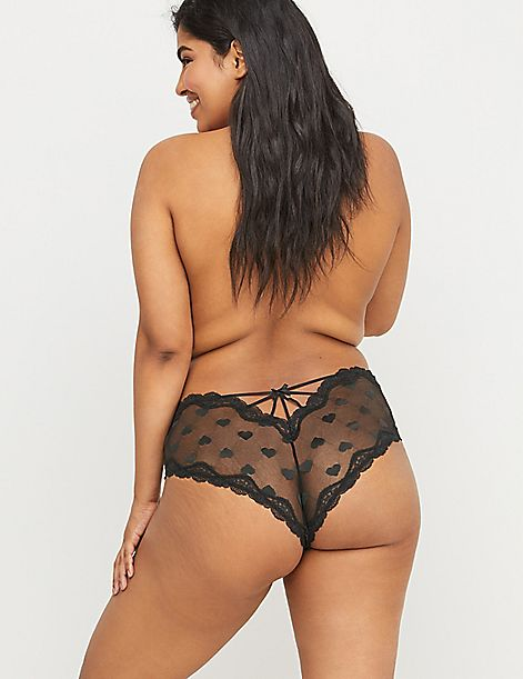 Heart Mesh Cheeky Panty - Strappy Back