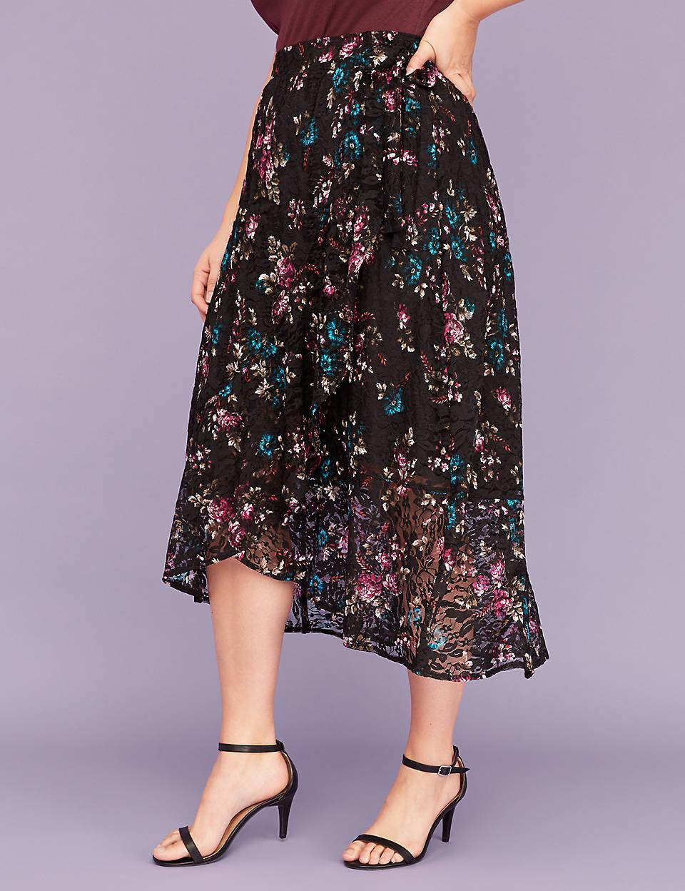 b17f5db114 Lace Faux Wrap Midi Skirt | Lane Bryant