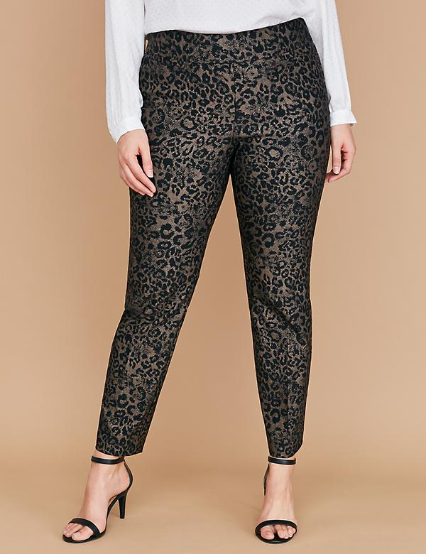 Power Pockets Allie Sexy Stretch Ankle Pant - Pull-On Metallic Leopard