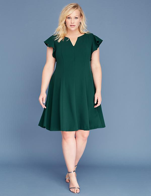 Ruffle-Sleeve V-Neck Fit & Flare Dress