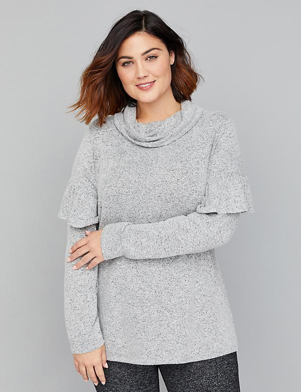 Hacci Ruffle-Sleeve Cowl-Neck Top