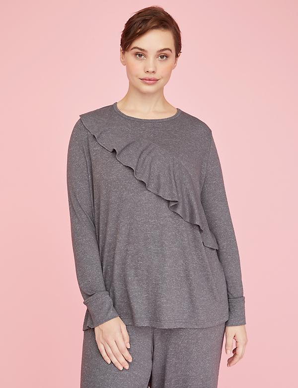 Brushed Jersey Ruffle Sleep Top