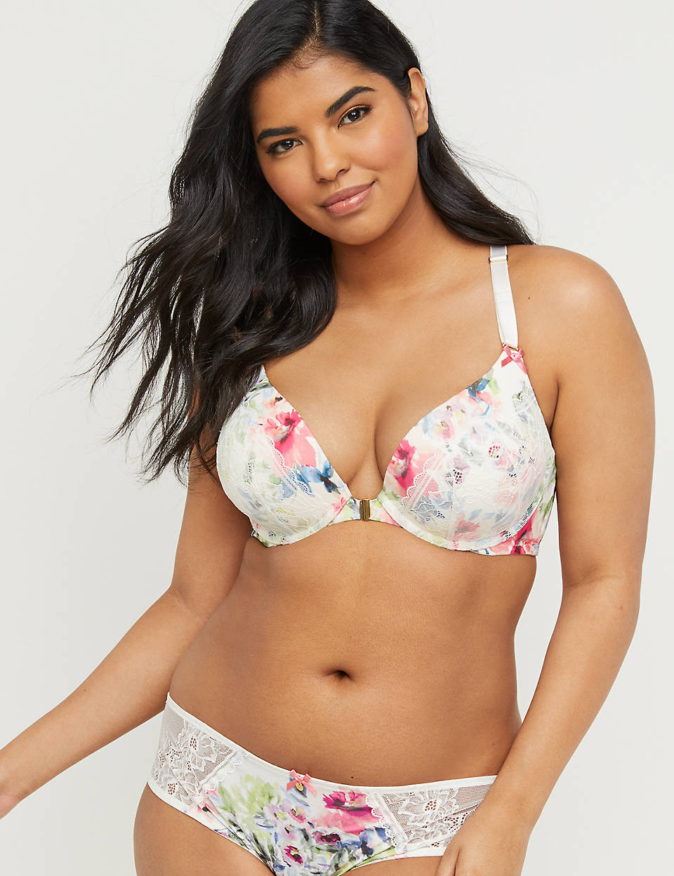 320b2b7fa4d Floral Front-Close Boost Plunge Bra | Cacique