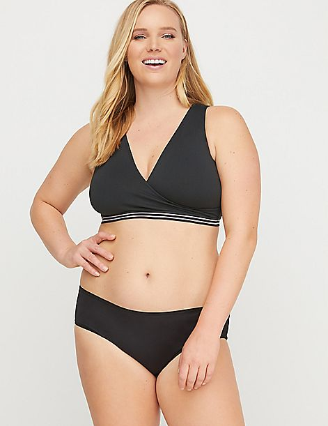 Seamless Faux-Wrap Bralette - Strappy Back