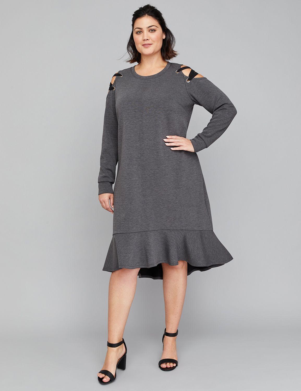 Lace-Up Cold-Shoulder Swing Dress