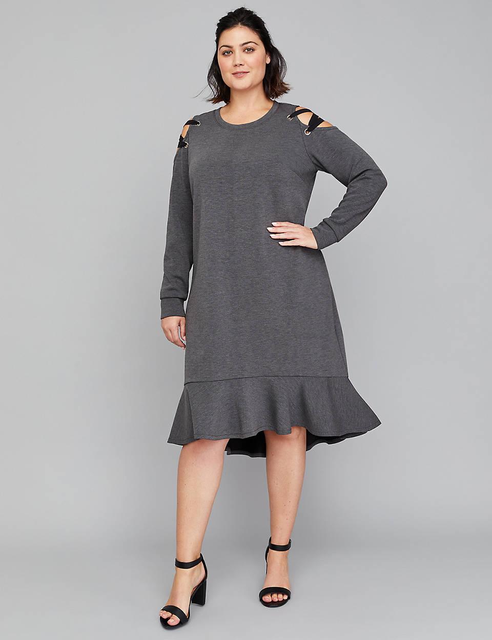 7f0e6a7ee9594c Lace-Up Cold-Shoulder Swing Dress