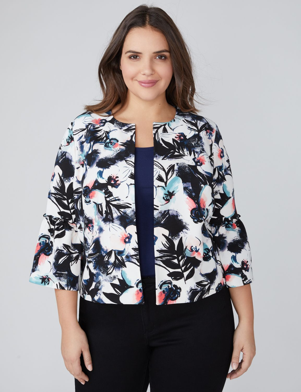 Floral Bell-Sleeve Jacket