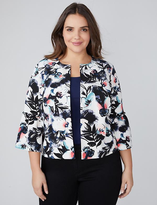 Floral Bell-Sleeve Jacket