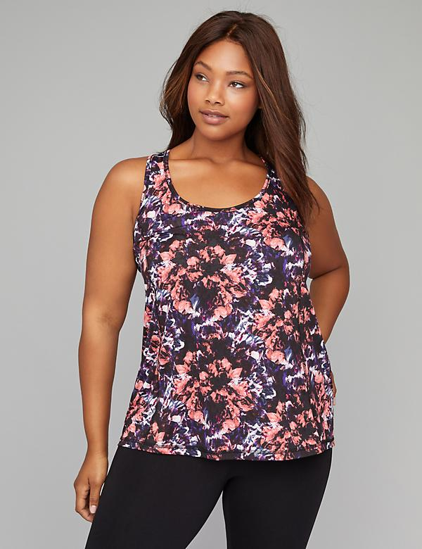 Wicking Draped Cross-Back Printed Active Tank