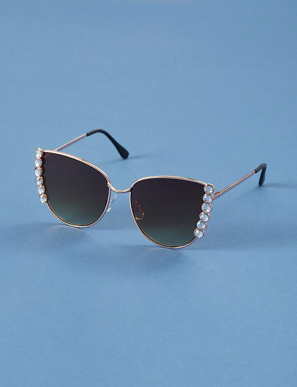 Faceted Stone Cateye Sunglasses
