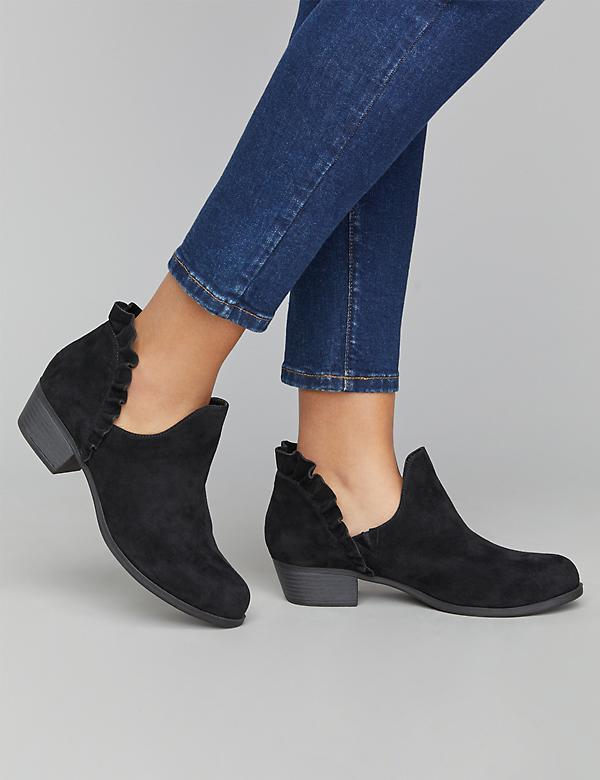 Ruffle-Back Ankle Boot