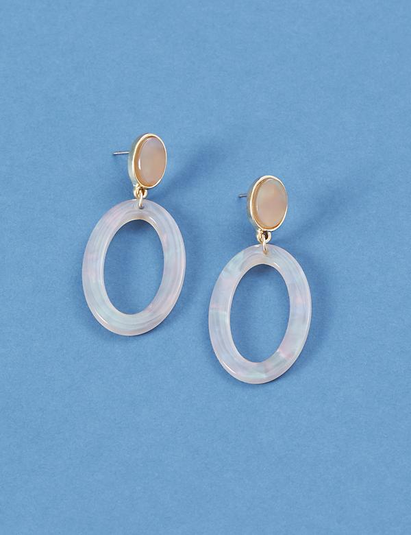 Resin Oval Drop Earrings