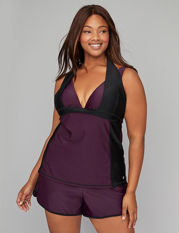 Halter Strap Active Swim Tankini Top with Built-In Underwire Bra