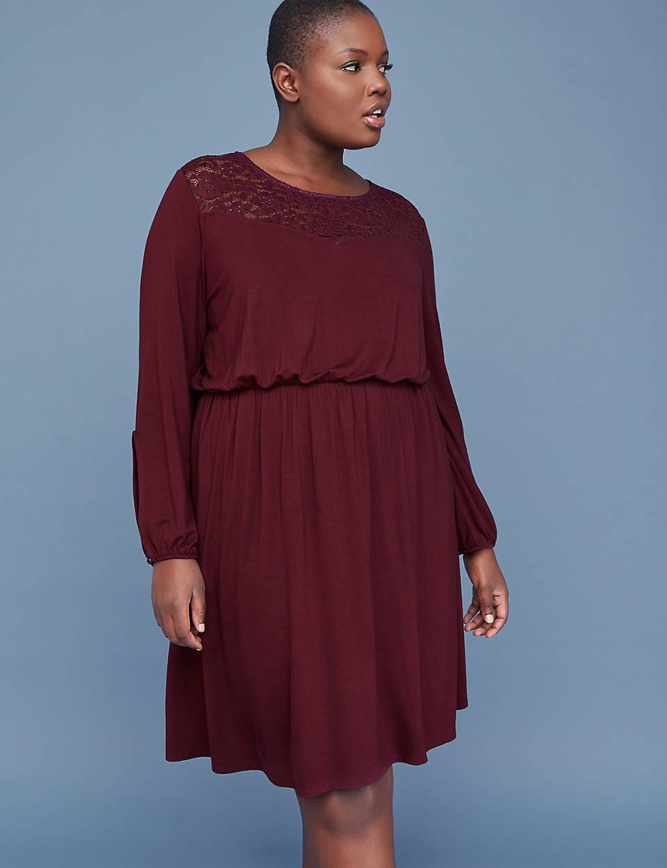 80aba928494 Lace Yoke Fit   Flare Dress