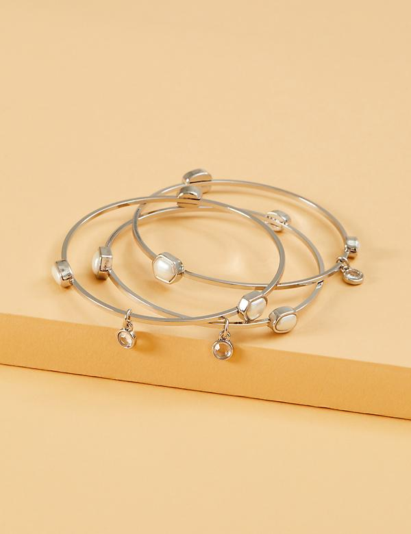 3-Row Faux Pearl Bangle Set