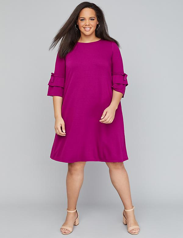 Ruffle-Sleeve Swing Dress