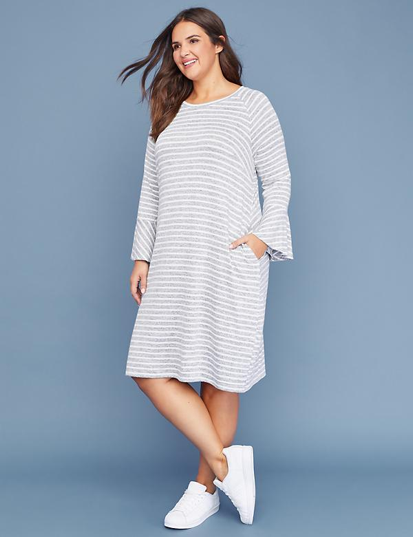 Striped Bell-Sleeve Swing Dress