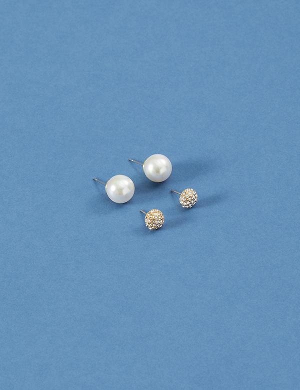 Stud Earrings 2-Pack - Fireballs & Faux Pearls