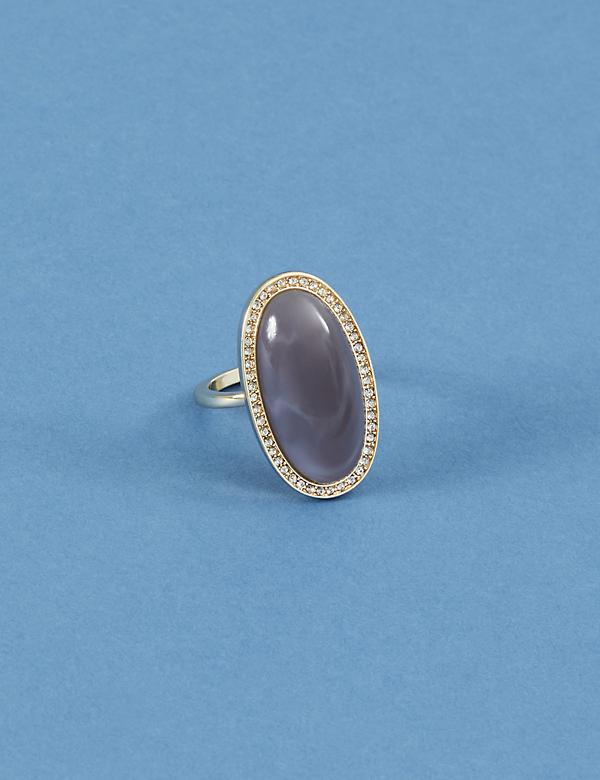 Pave Oval Oblong Stone Ring