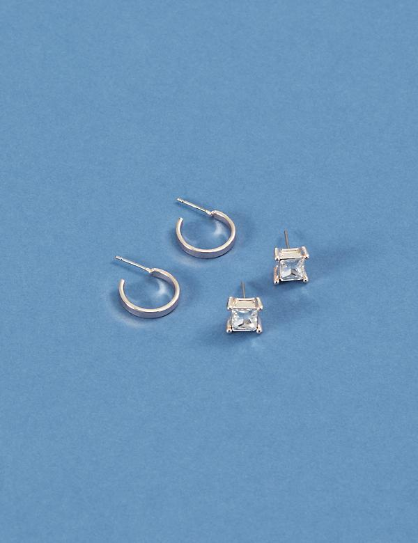 Stud Earrings 2-Pack - Square CZ & Mini Hoops
