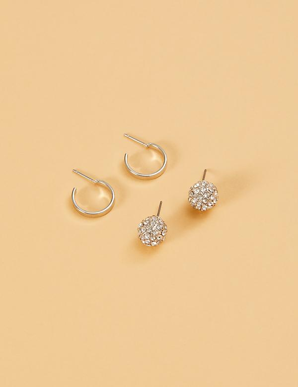 Stud Earrings 2-Pack - Hoops & Fireballs