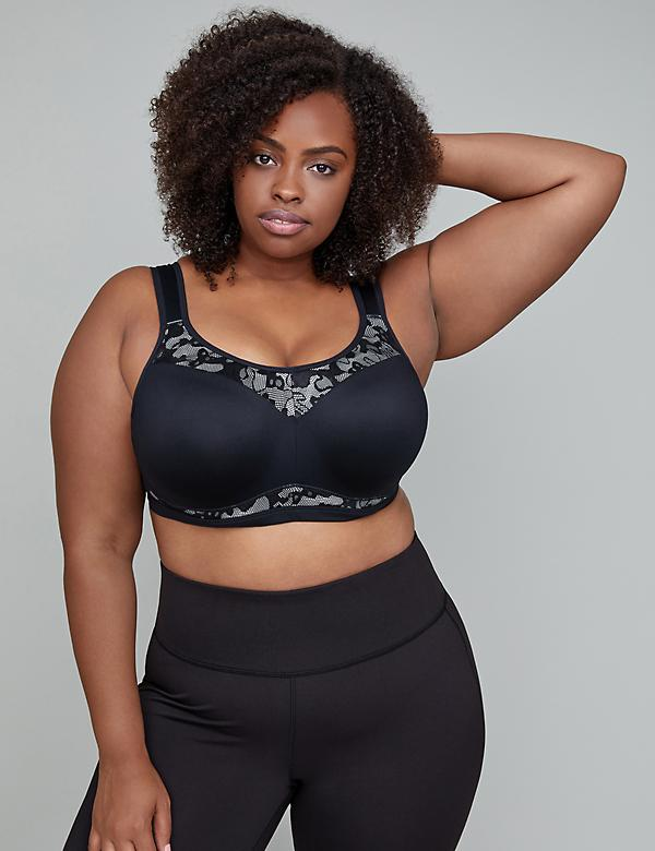 Wicking High Impact Underwire Sport Bra with Lace