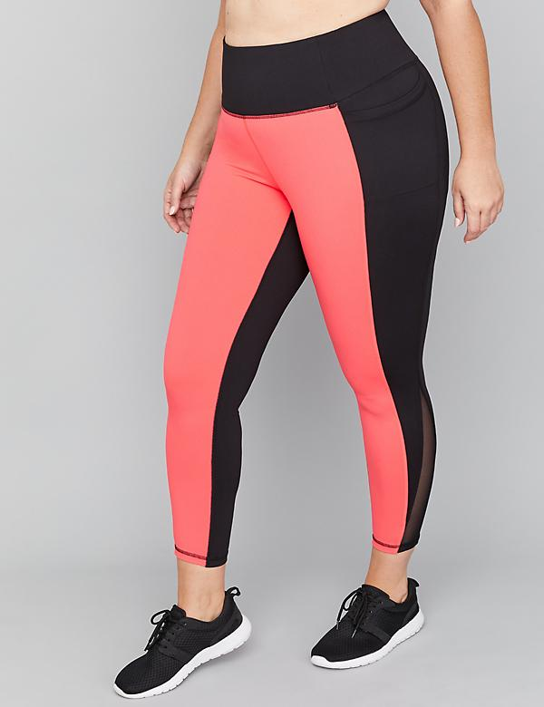 Wicking Active 7/8 Legging - Colorblock & Mesh Inset