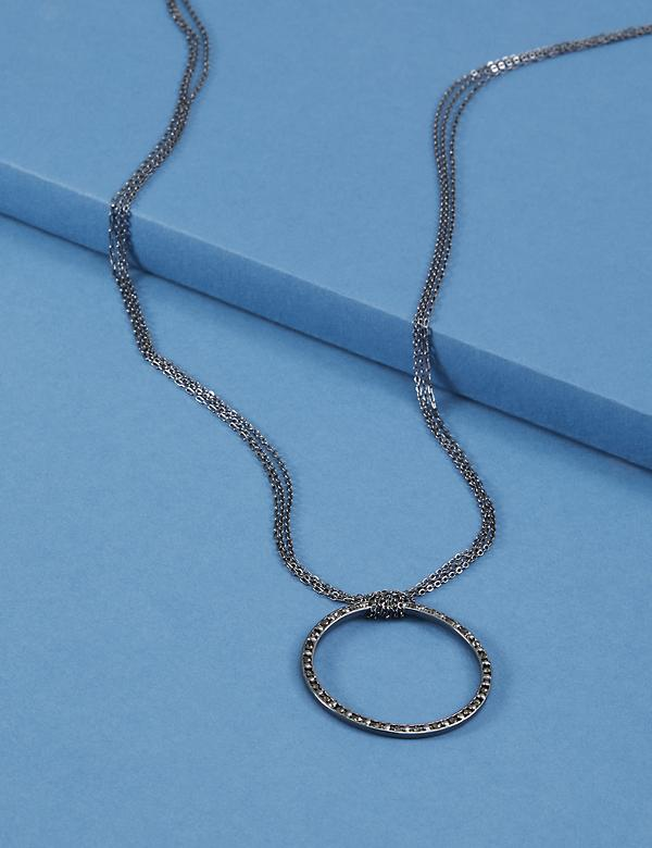 Long Necklace with Hematite Pave Circle Pendant