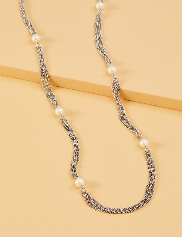 Multi-Chain Faux Pearl Necklace