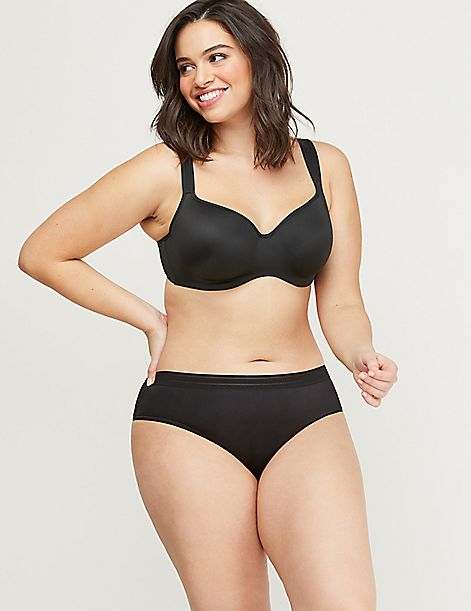 No-Show Cheeky Panty - Sheer Stripe Waistband