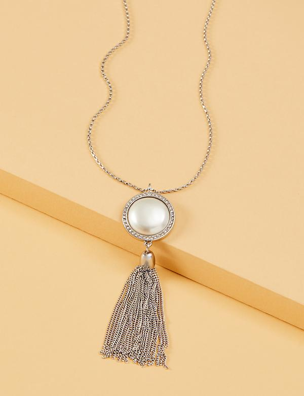 Faux Pearl Pendant Tassel Necklace
