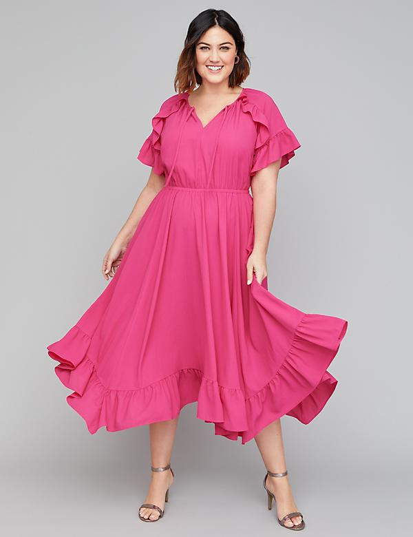 a5de55df0ff Textured Crepe Ruffle Fit   Flare Midi Dress. Also in petite