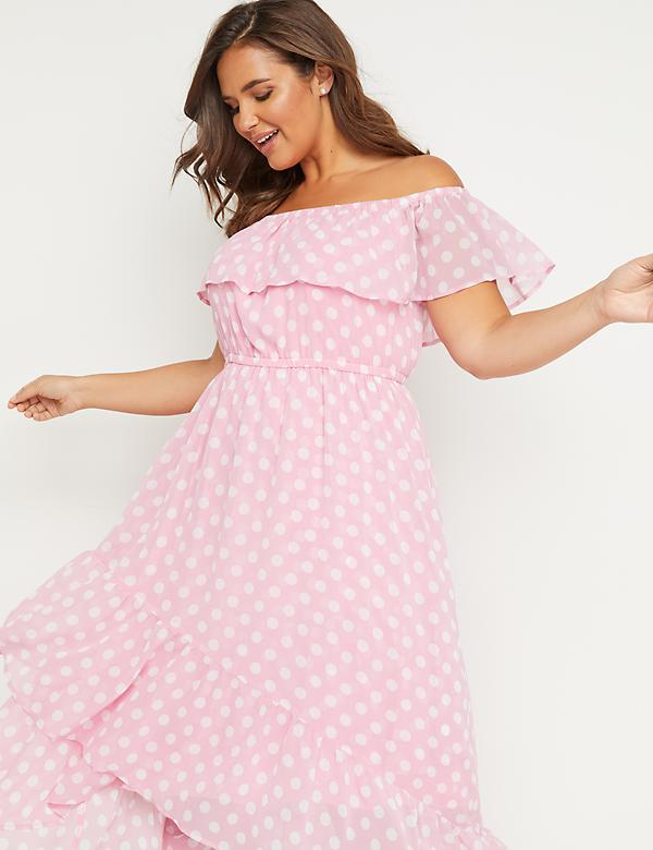 Off-the-Shoulder High-Low Maxi Dress - Polka Dot