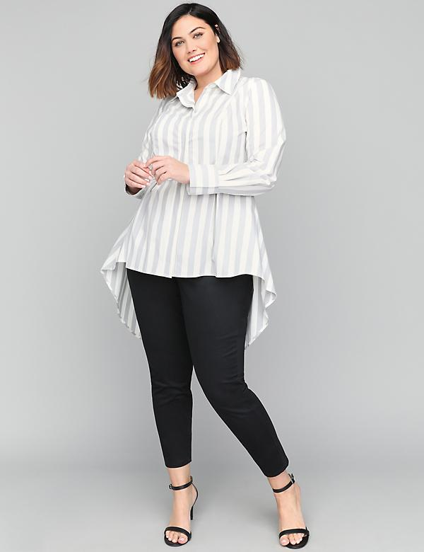 Striped Extreme Peplum Tunic Shirt