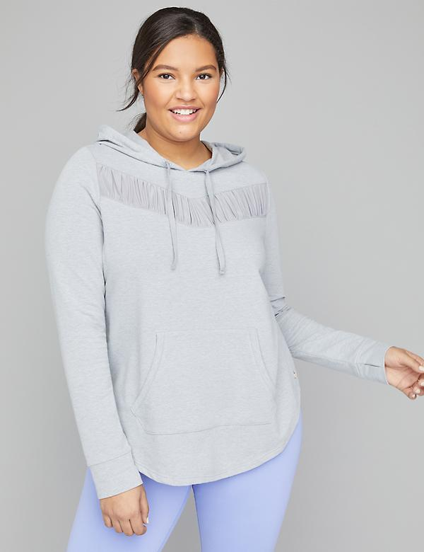 Active French Terry Hoodie with Ruched Mesh