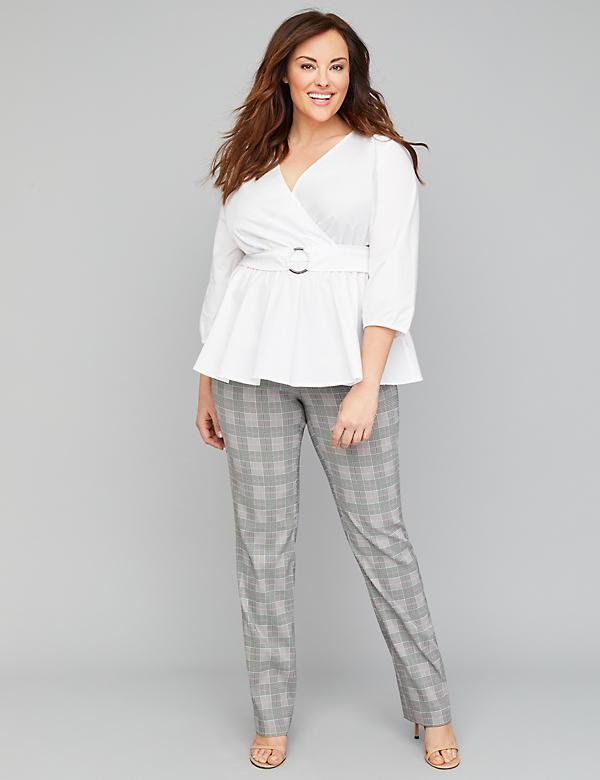 Allie Sexy Stretch Straight Leg Pant - Plaid