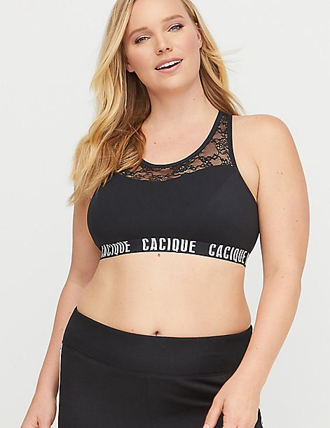Low-Impact Wicking Sports Bra - Lace & Logo Band