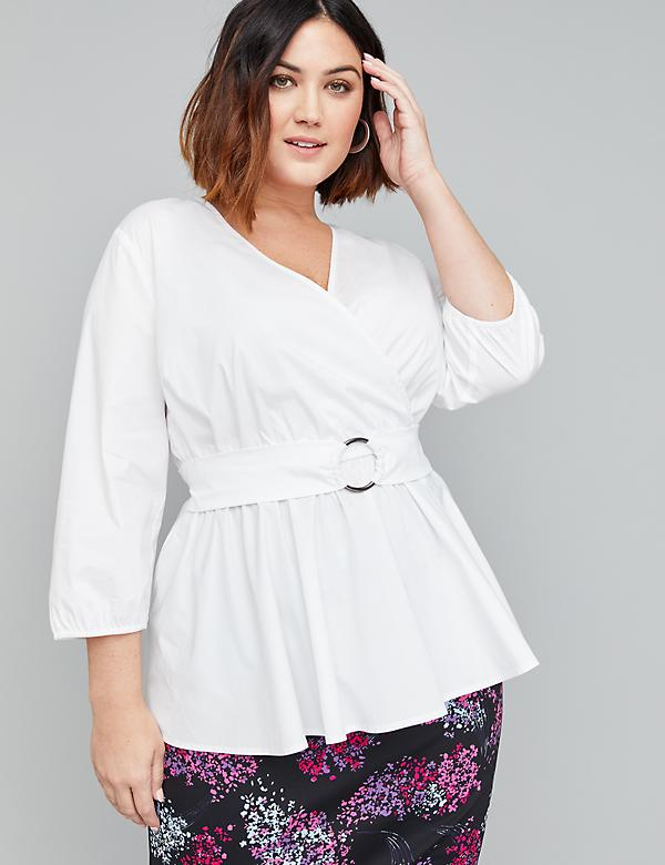 Belted Faux-Wrap Top