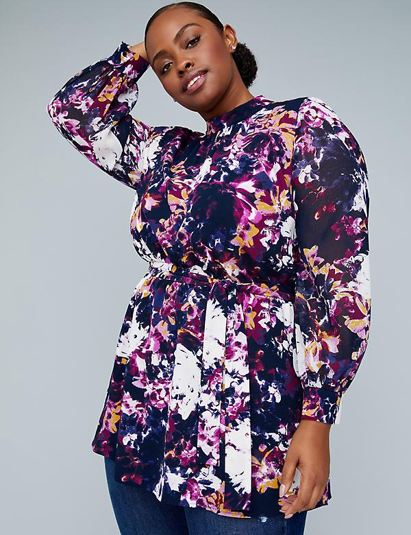 Girl With Curves Belted Tunic - Floral