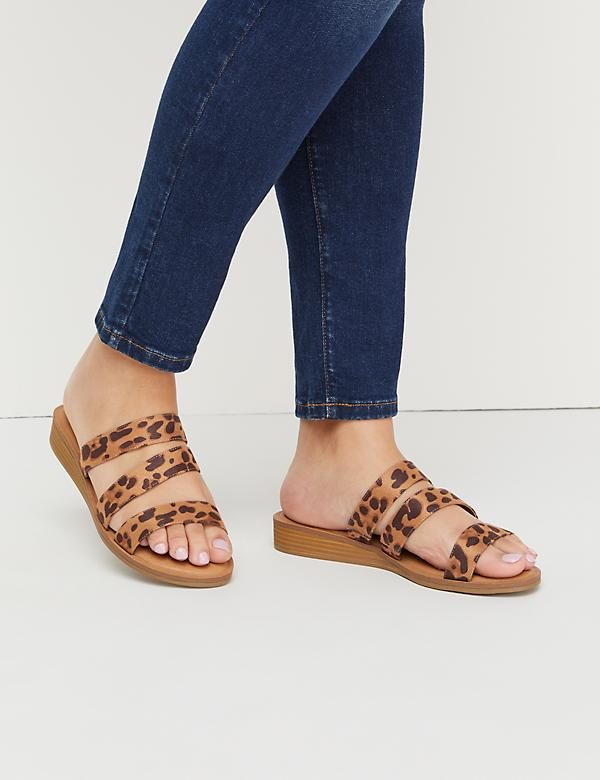 Triple-Strap Wedge Sandal
