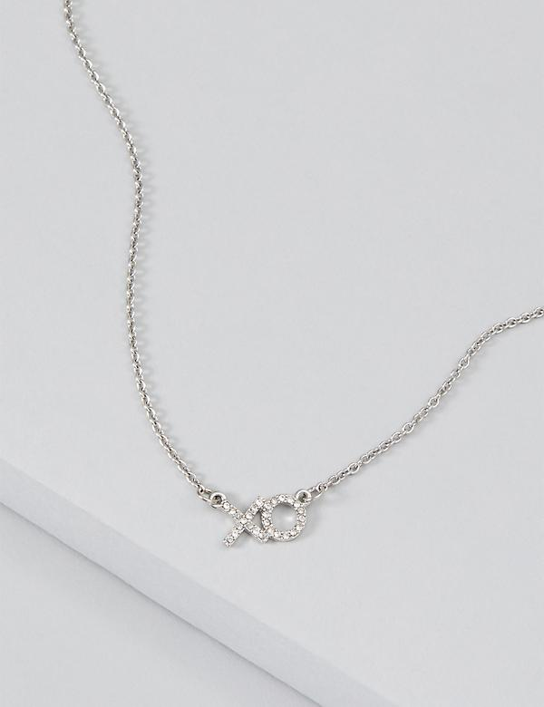 XO Pave Pendant Necklace